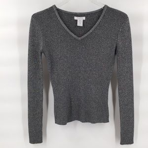Alfred Sung V-neck metallic pullover sweater Sz Sm